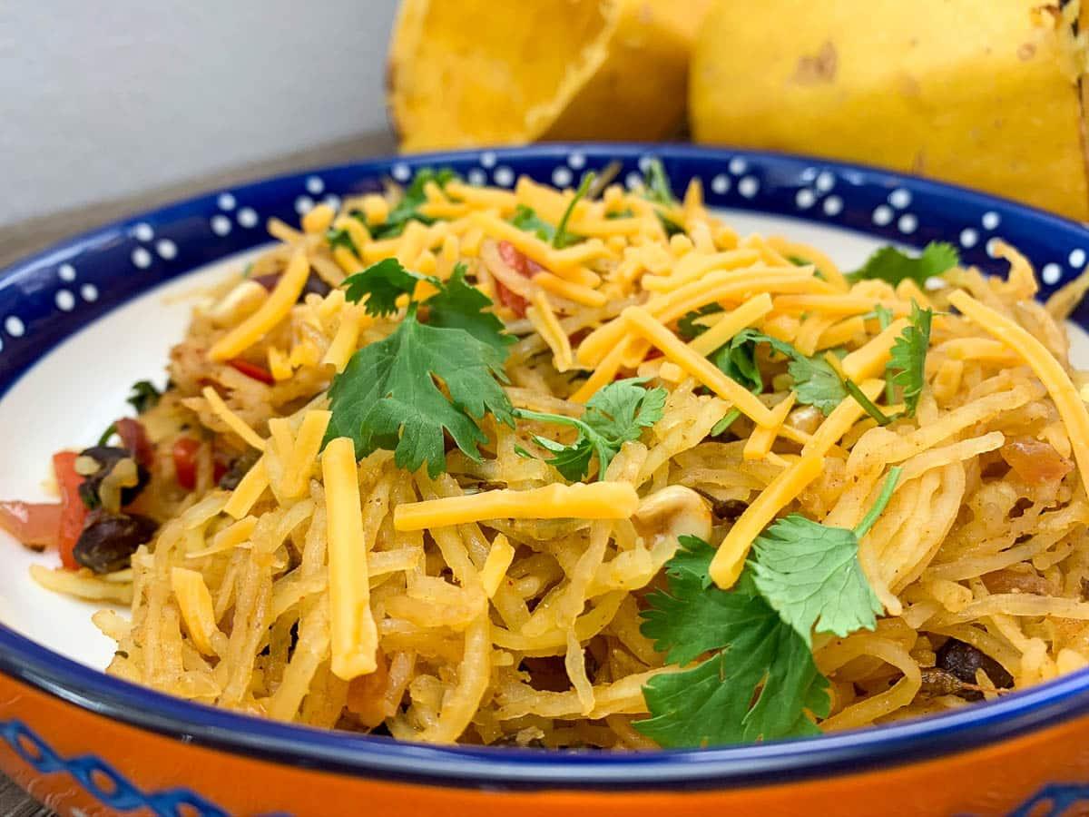 spaghetti squash with cilantro in a bowl