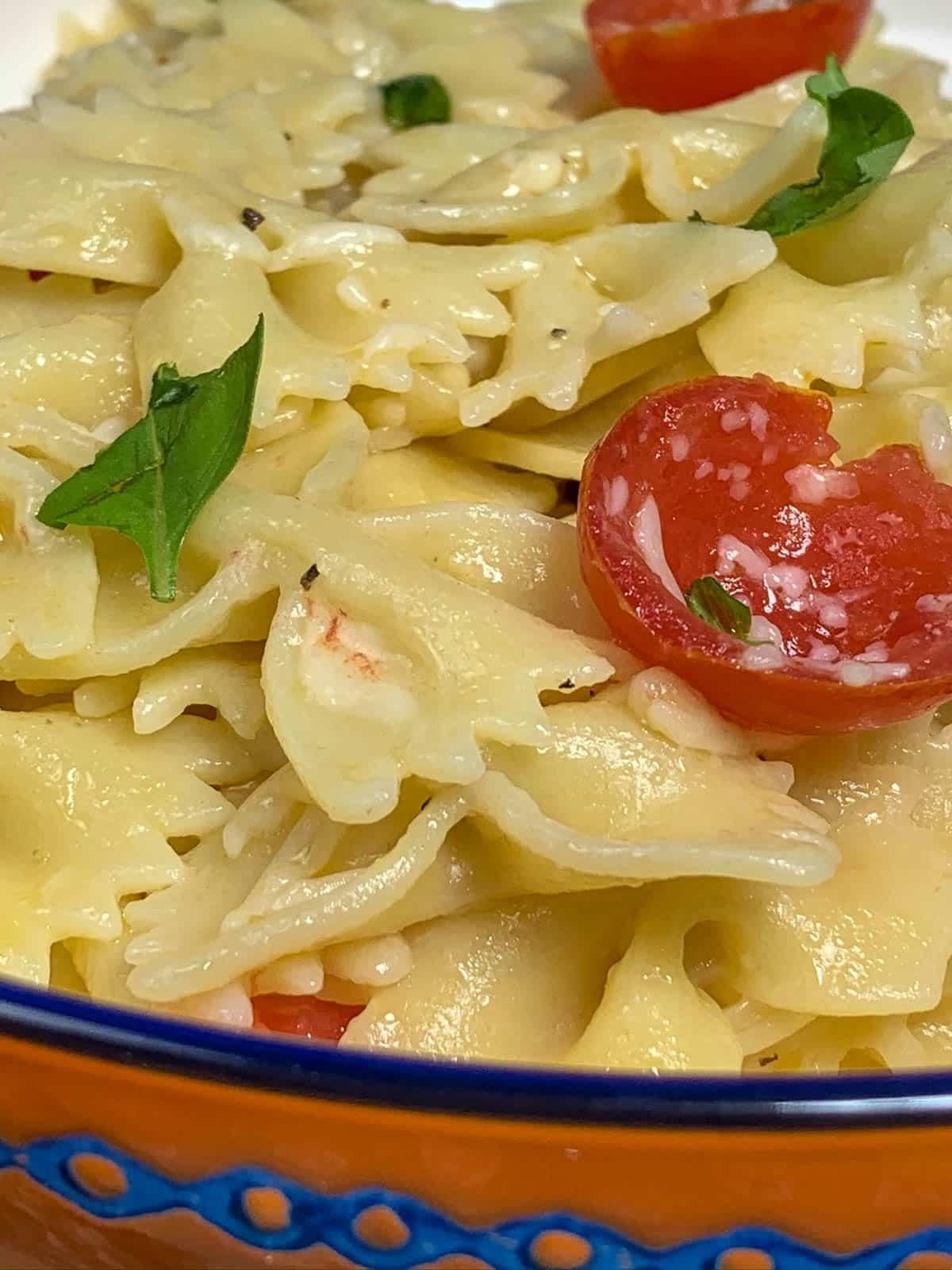closeup view of pasta dish