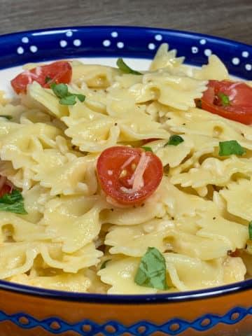 pasta in a decorative bowl