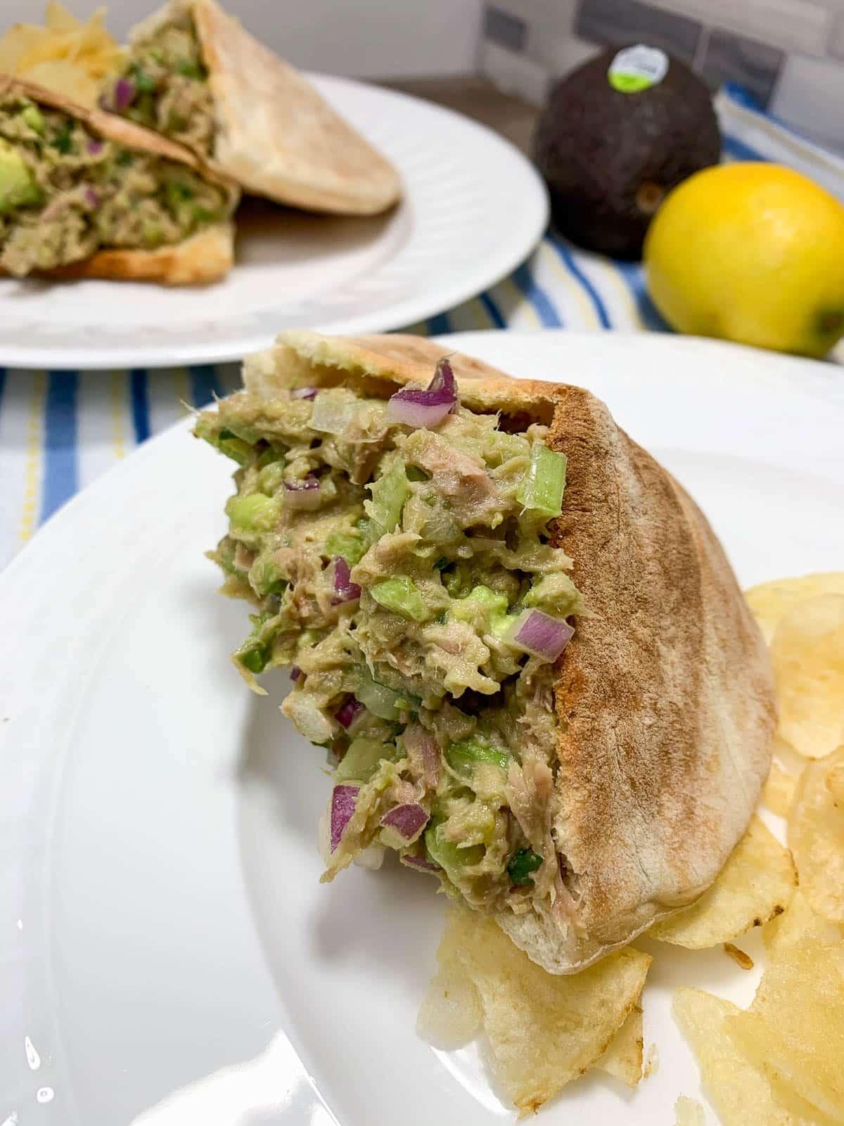 pita pocket sandwich on a plate