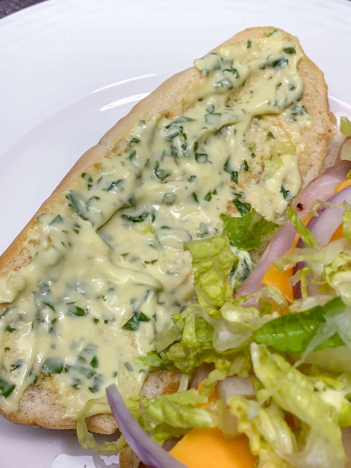aioli on club house sandwich