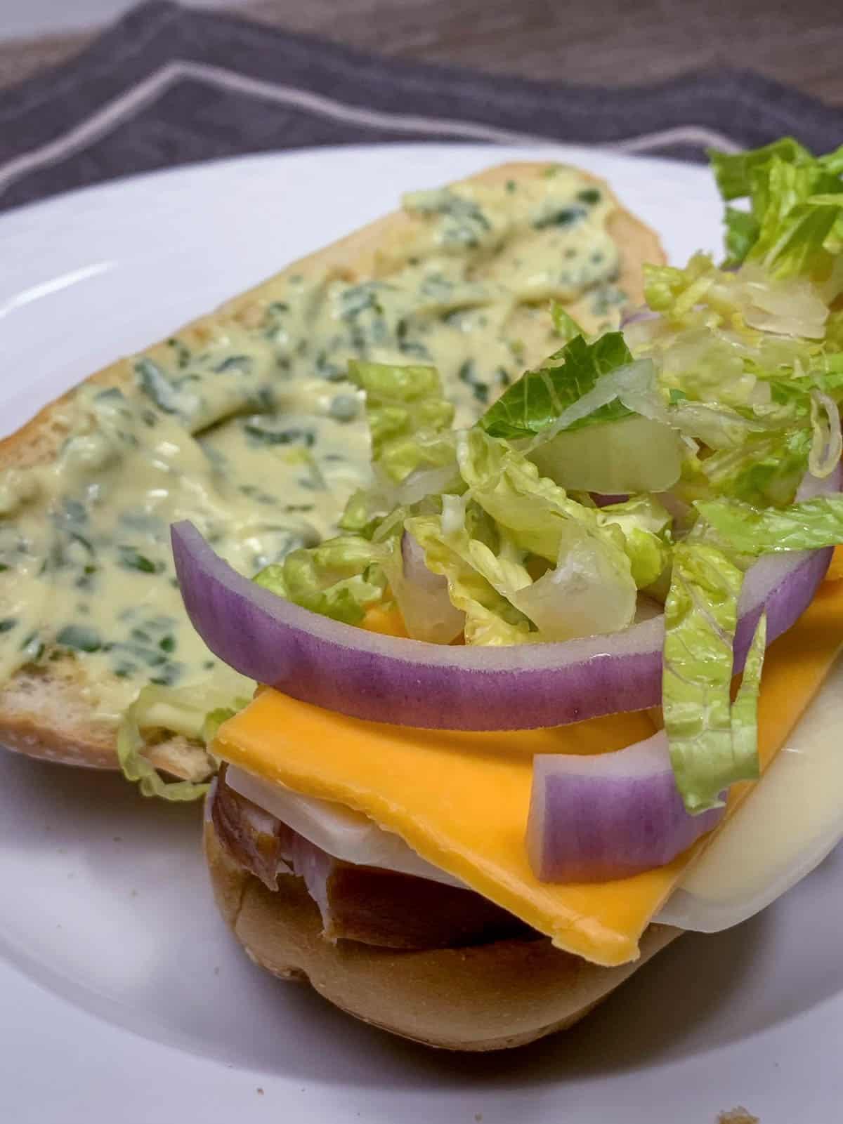 basil aioli on turkey sandwich