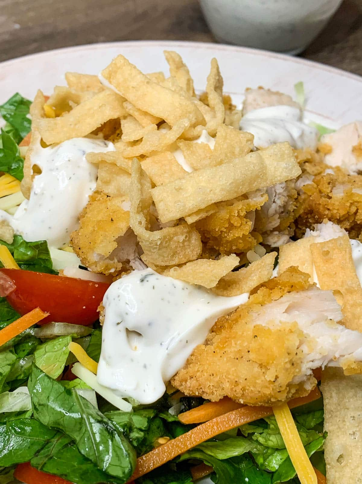 salad with wendy's ranch sauce
