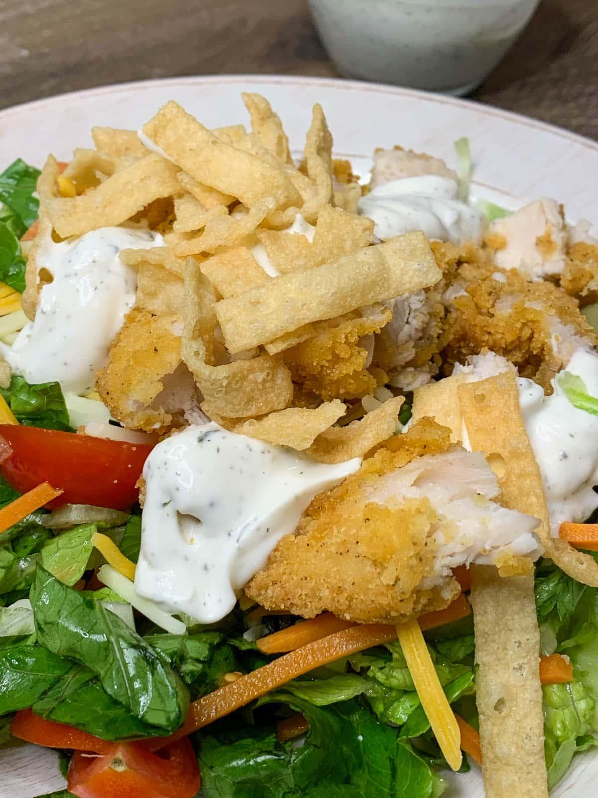 ranch sauce on salad