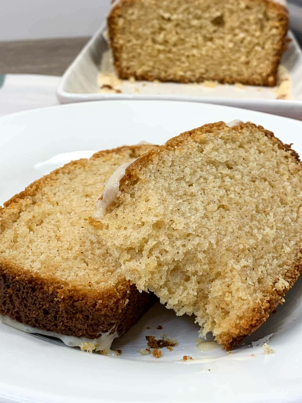 slices of eggnog bread on white plate