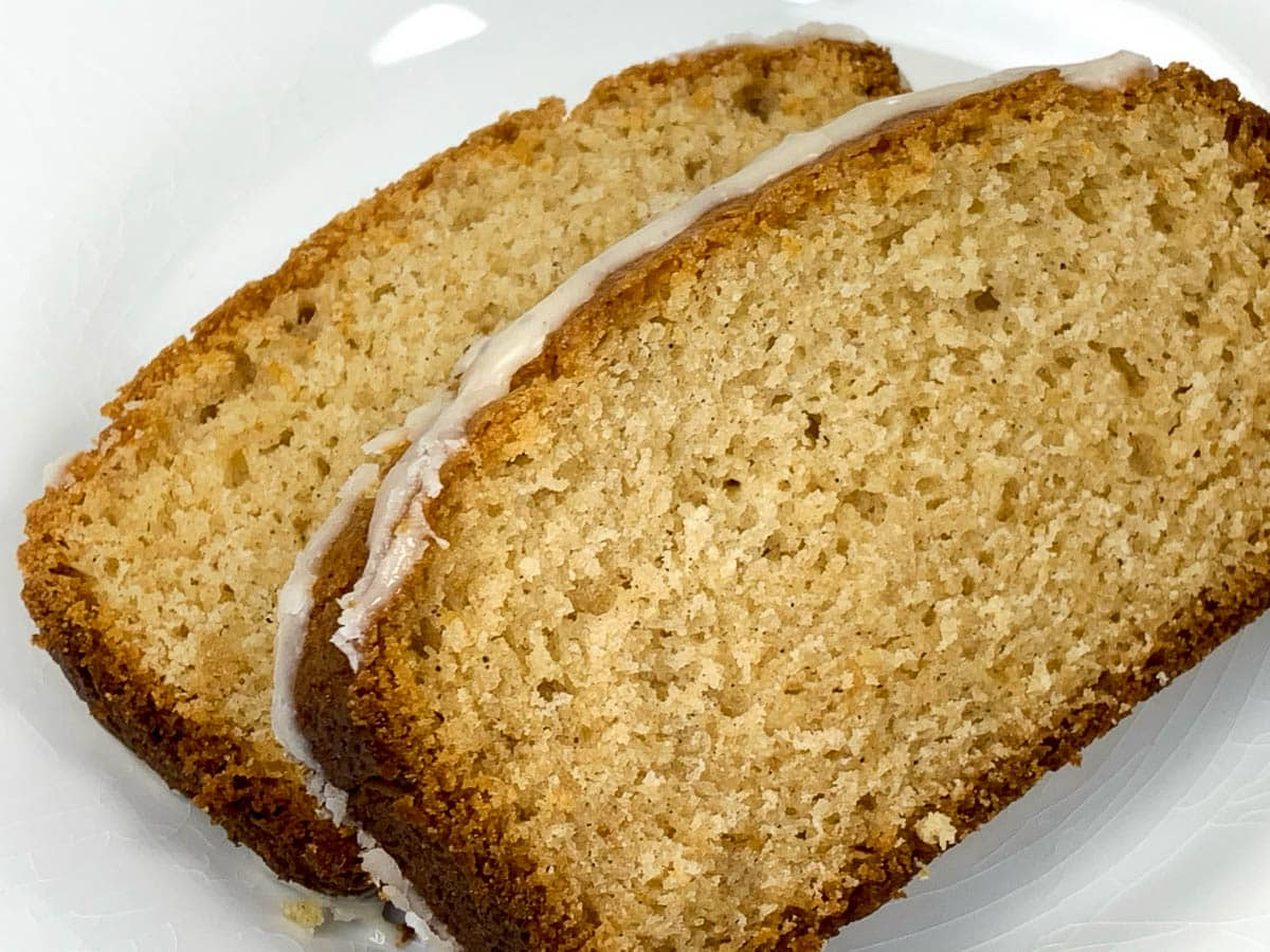 two slices of eggnog bread