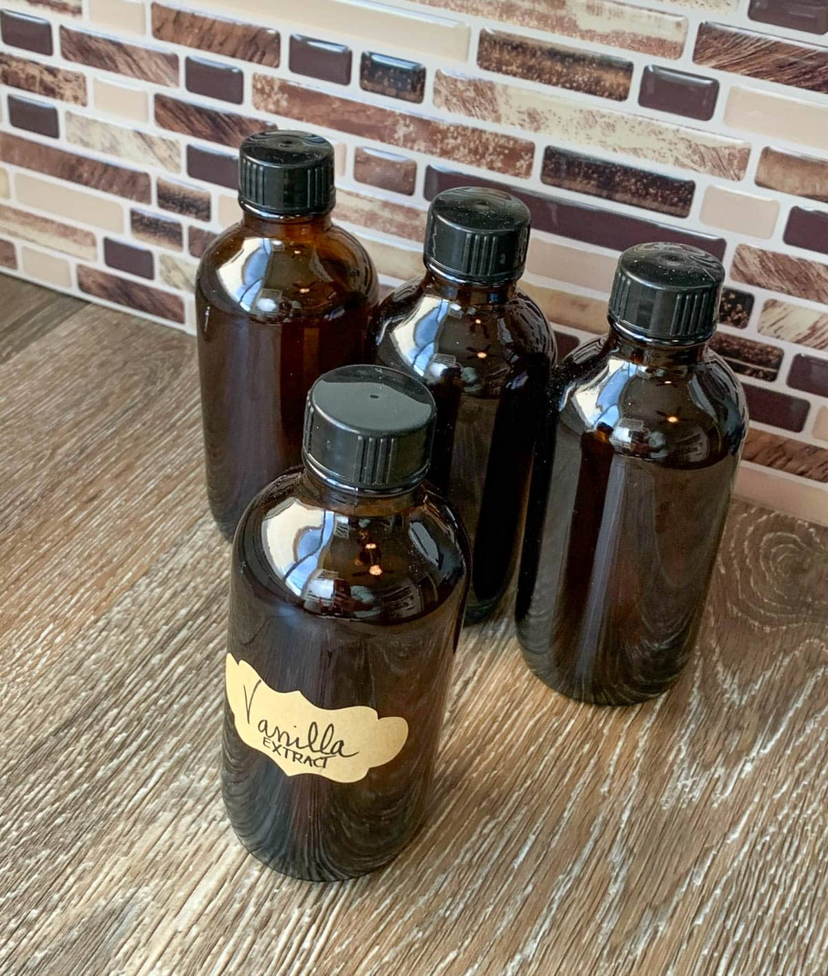 vanilla extract in amber bottles