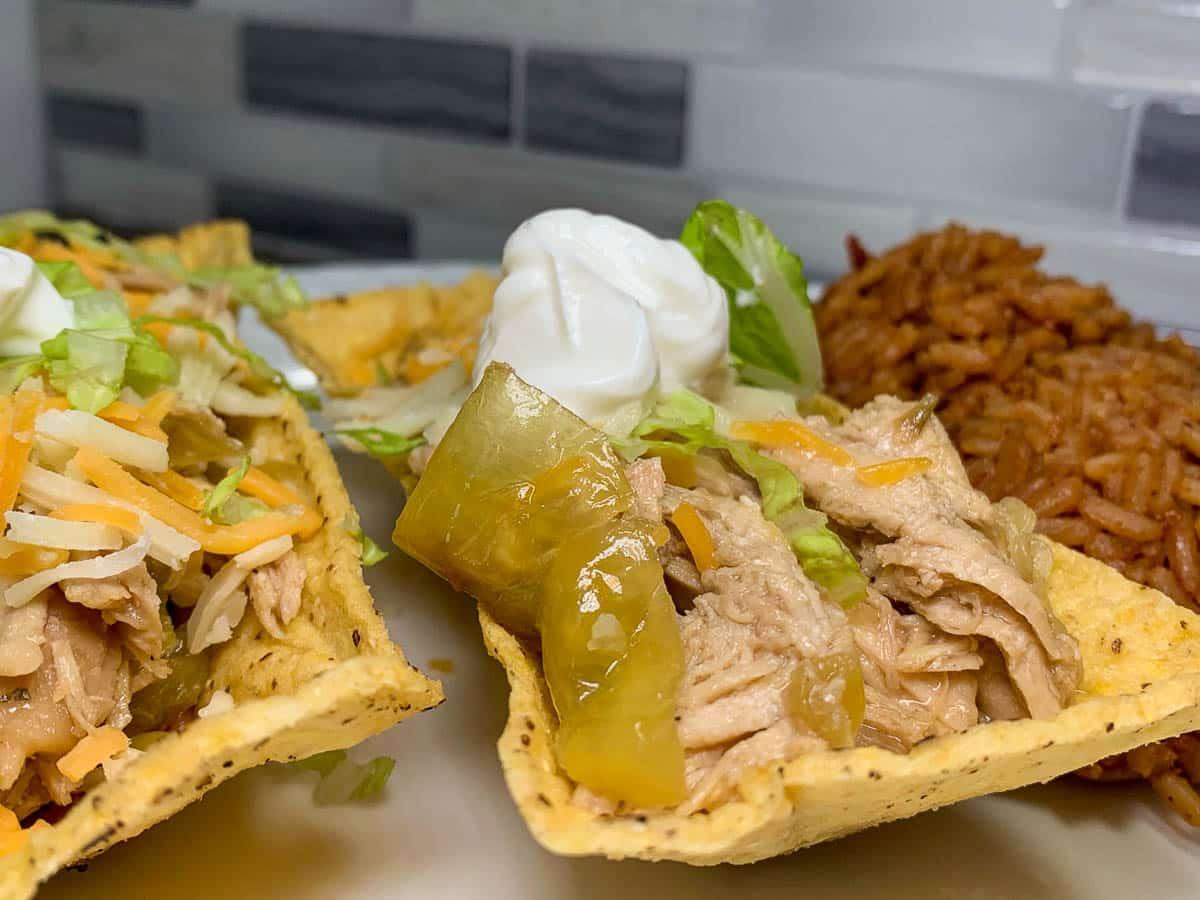 shredded in chicken in taco boats