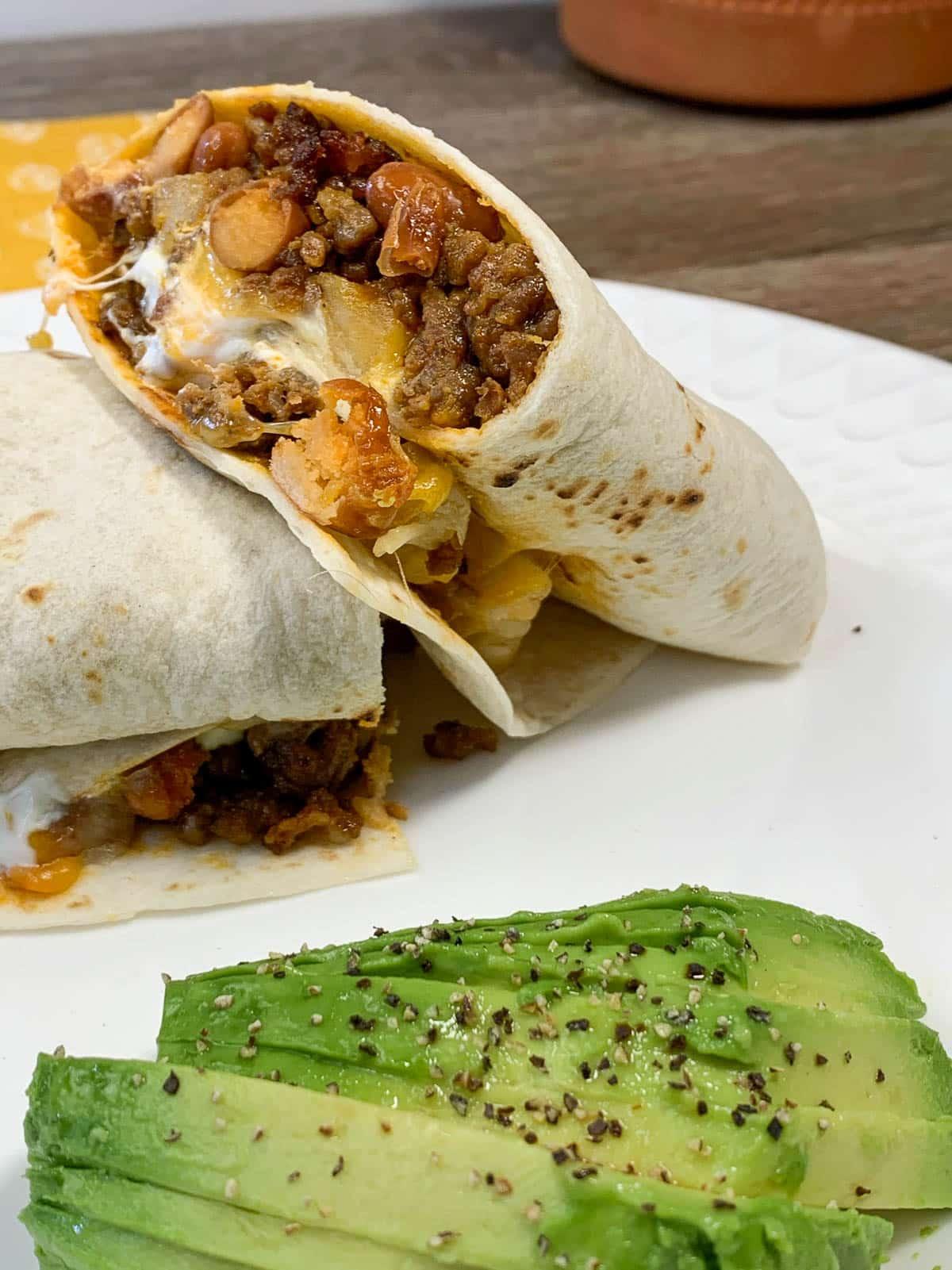 chorizo and potato burritos