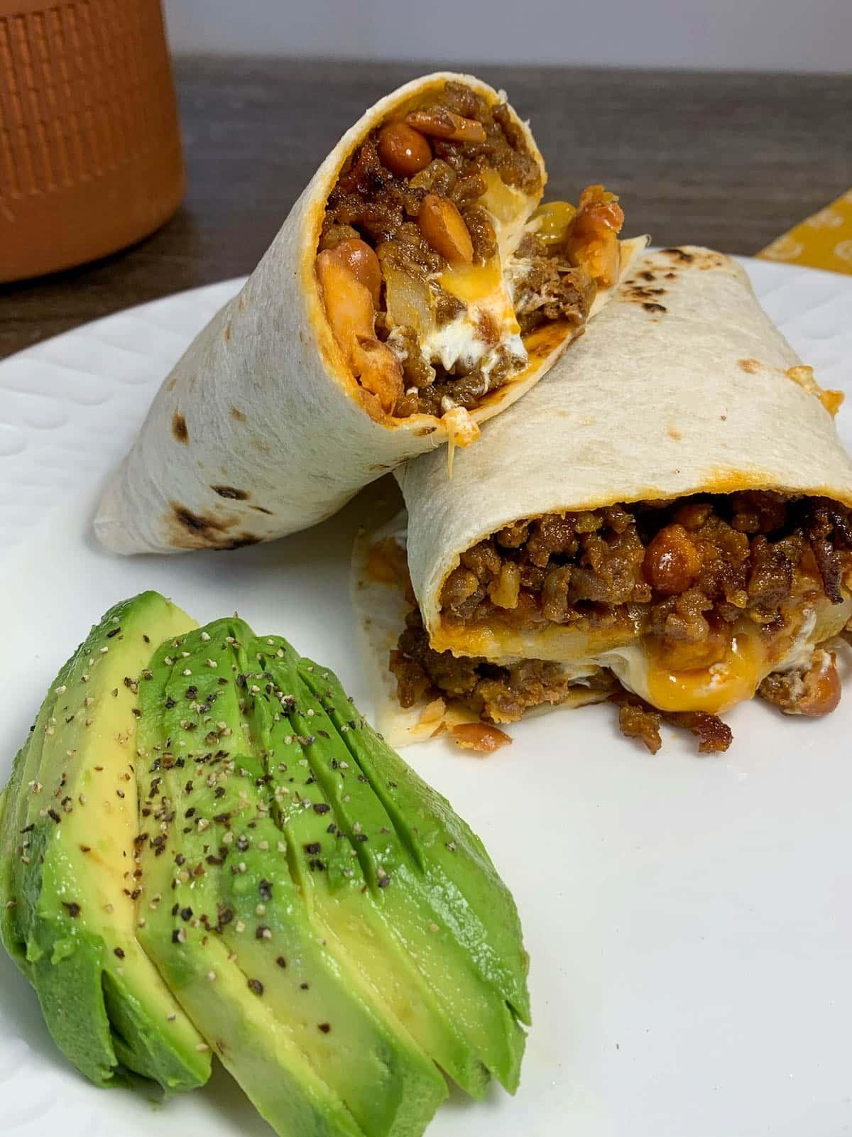 burrito with avocados