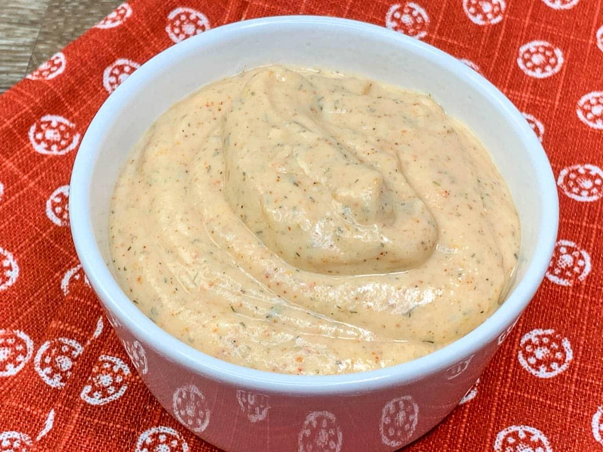 sauce in white bowl