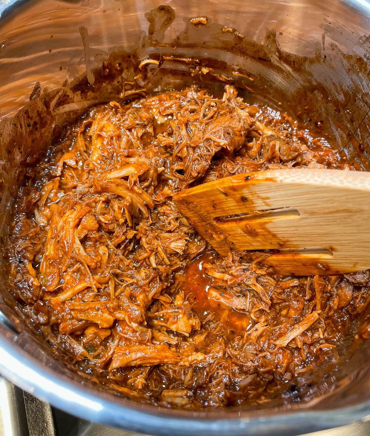 meat mixture simmering in saucepan