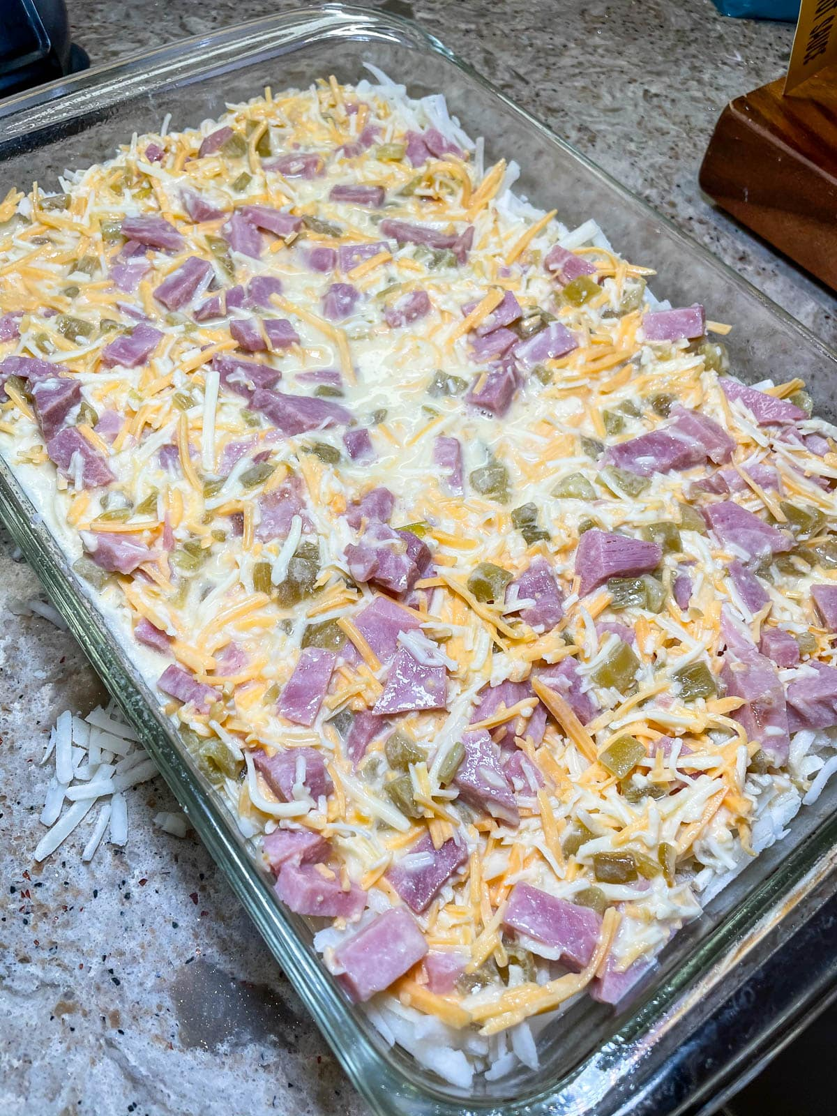 breakfast casserole ready for the oven