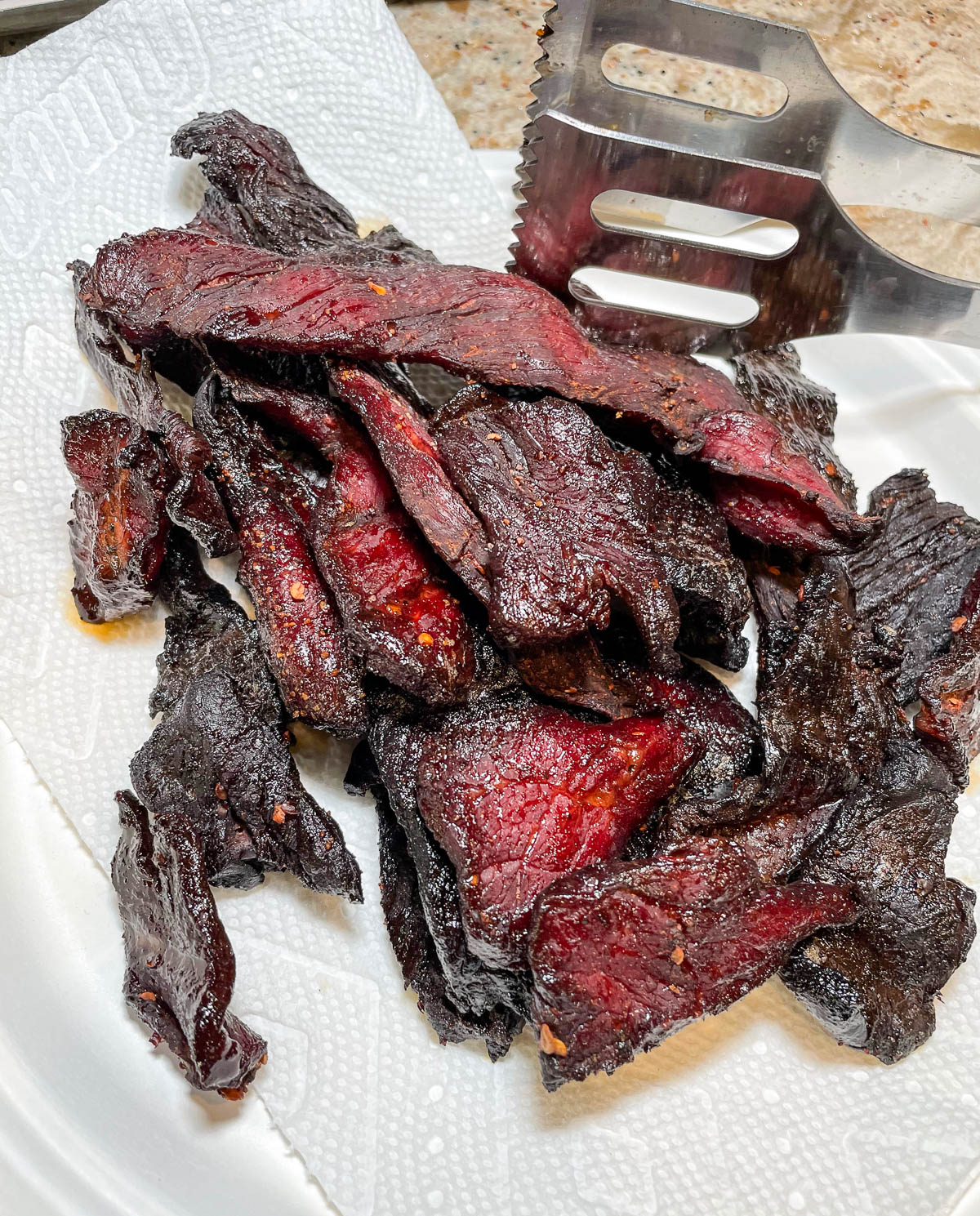 beef jerky fresh off the grill