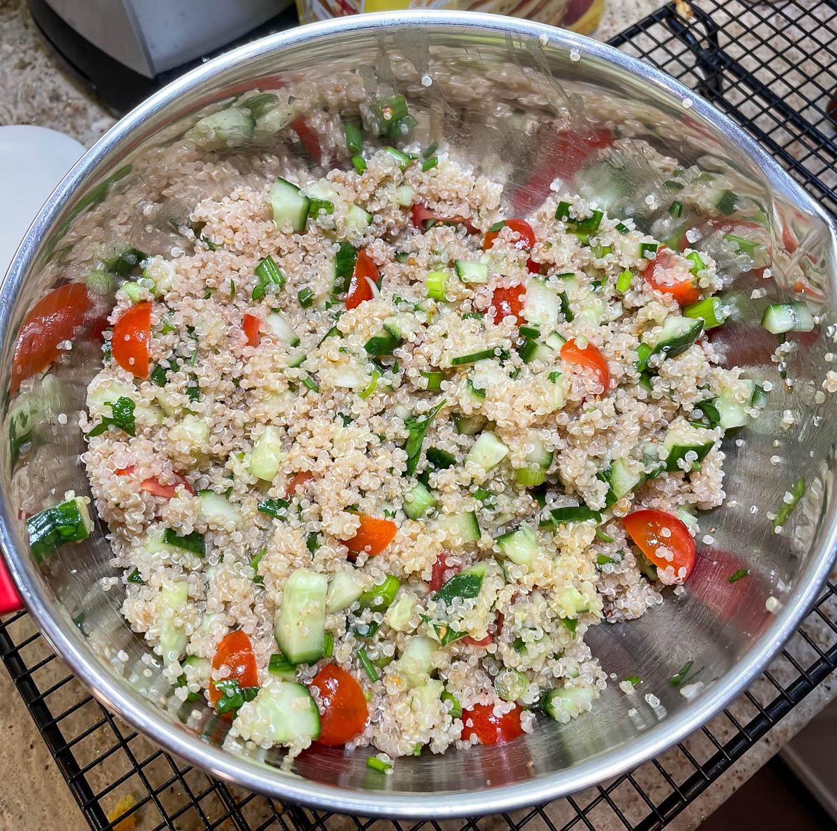 freshly mixed quinoa tabbouleh