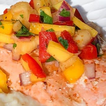 salmon with pineapple mango salsa