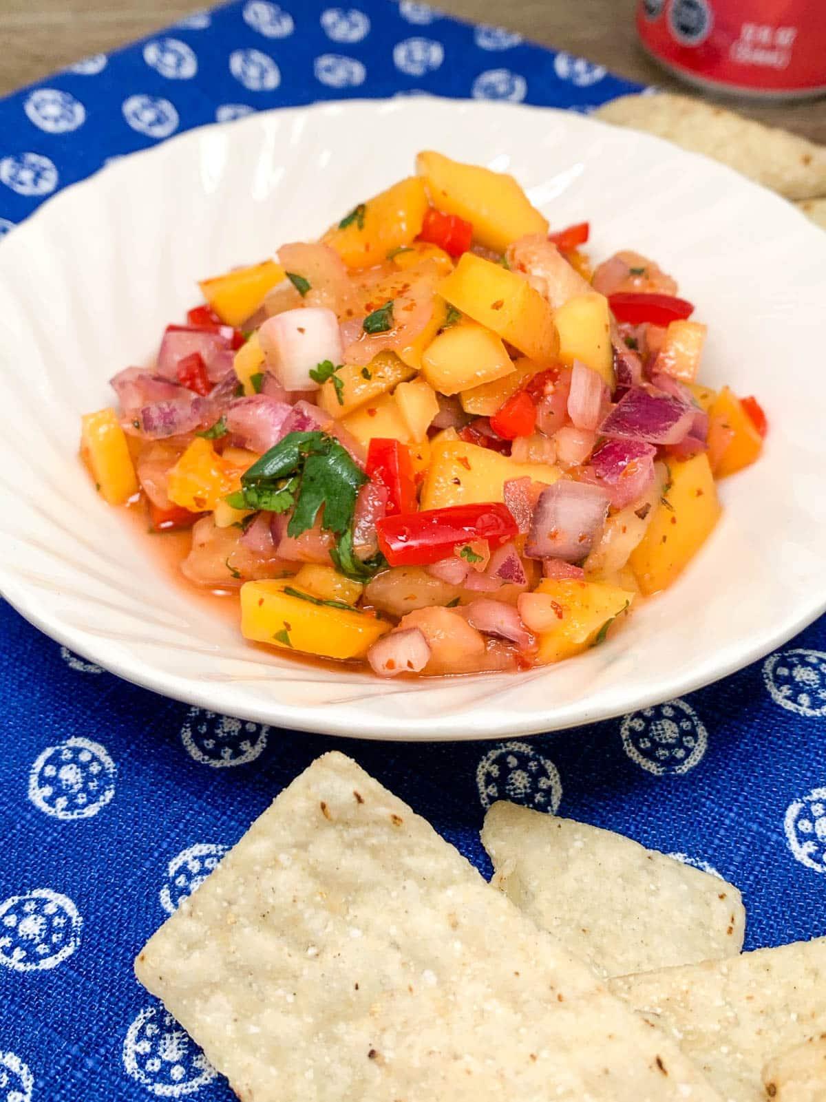 pineapple mango salsa with tortilla chips