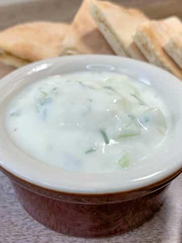tzatziki sauce with while wheat pita bread