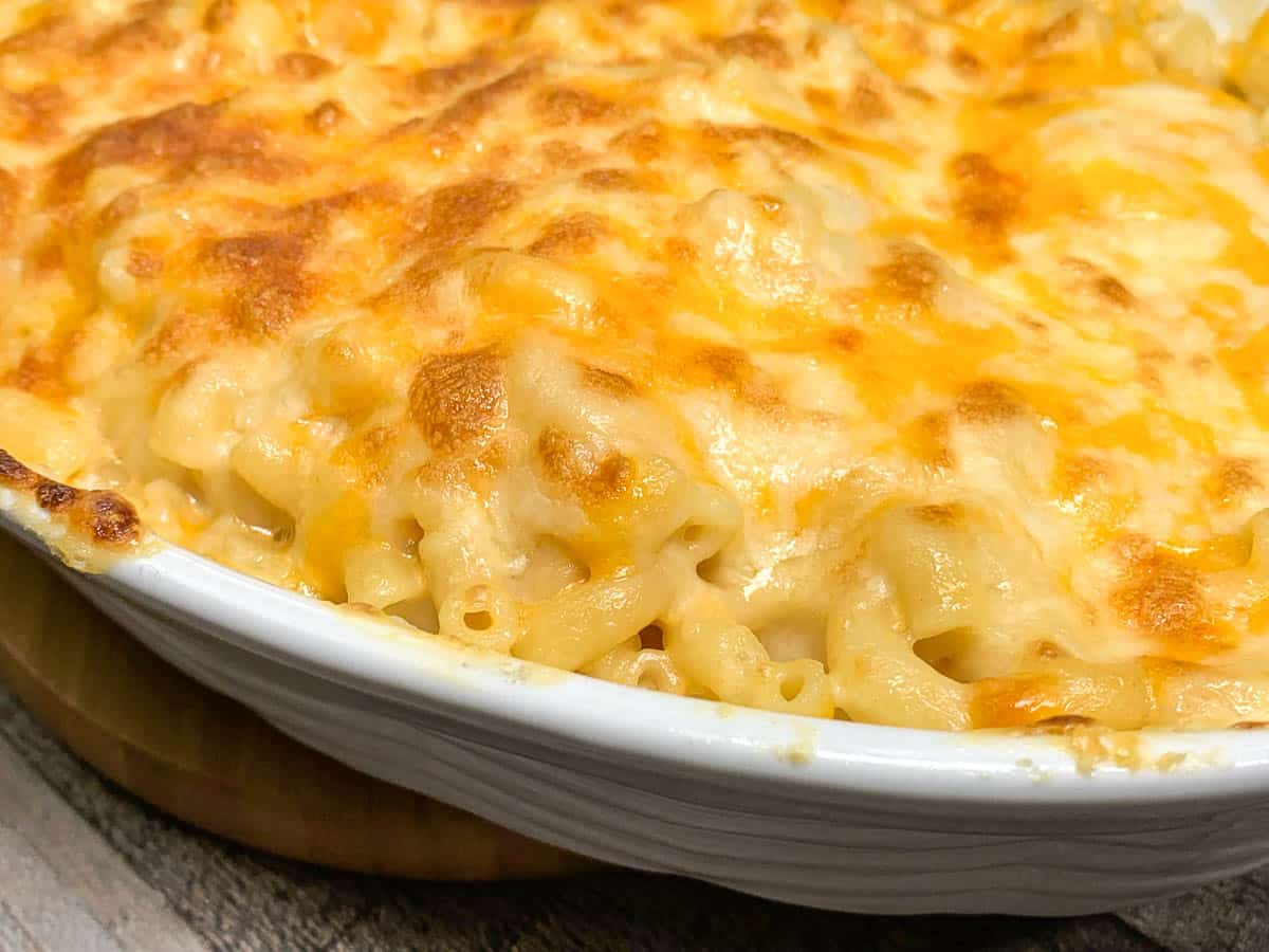 mac and cheese in white serving dish