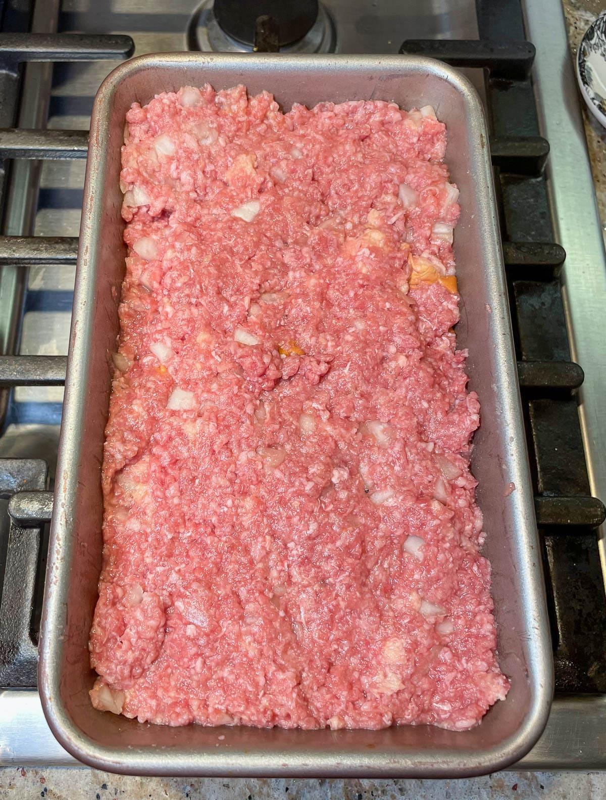 meat mixture in loaf pan