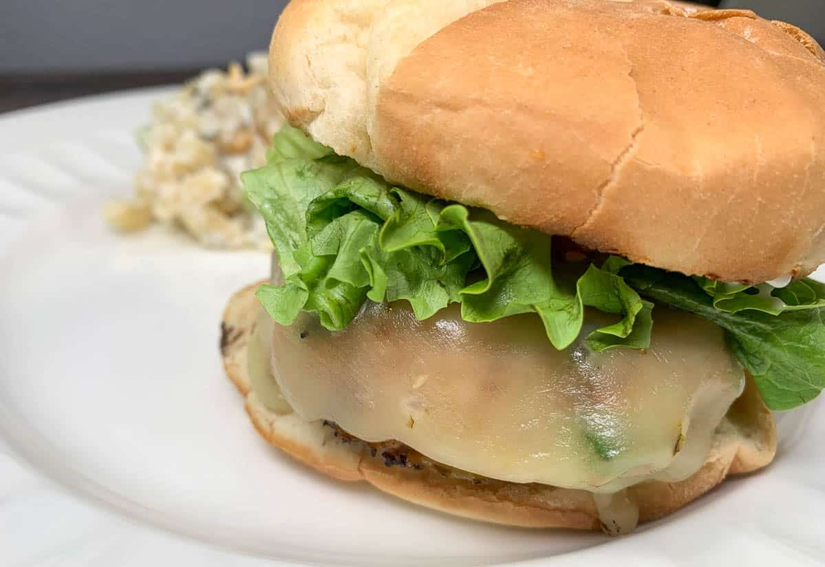 chicken burger with pepper jack cheese
