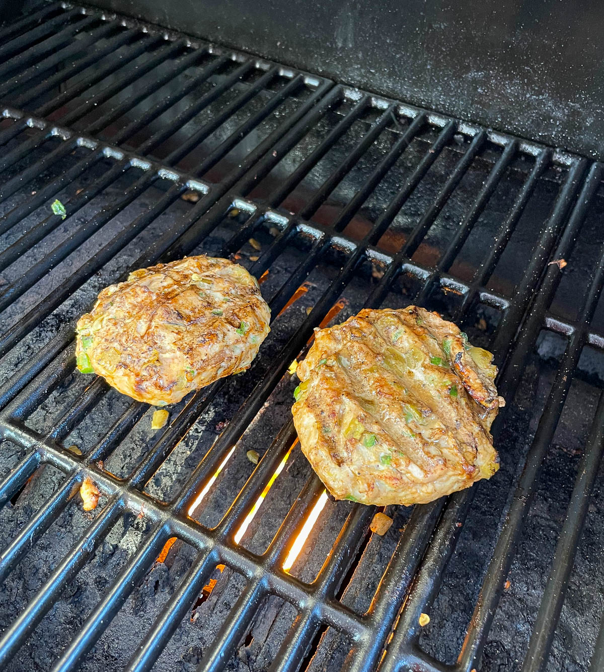 Chicken Burger Patties on the grill