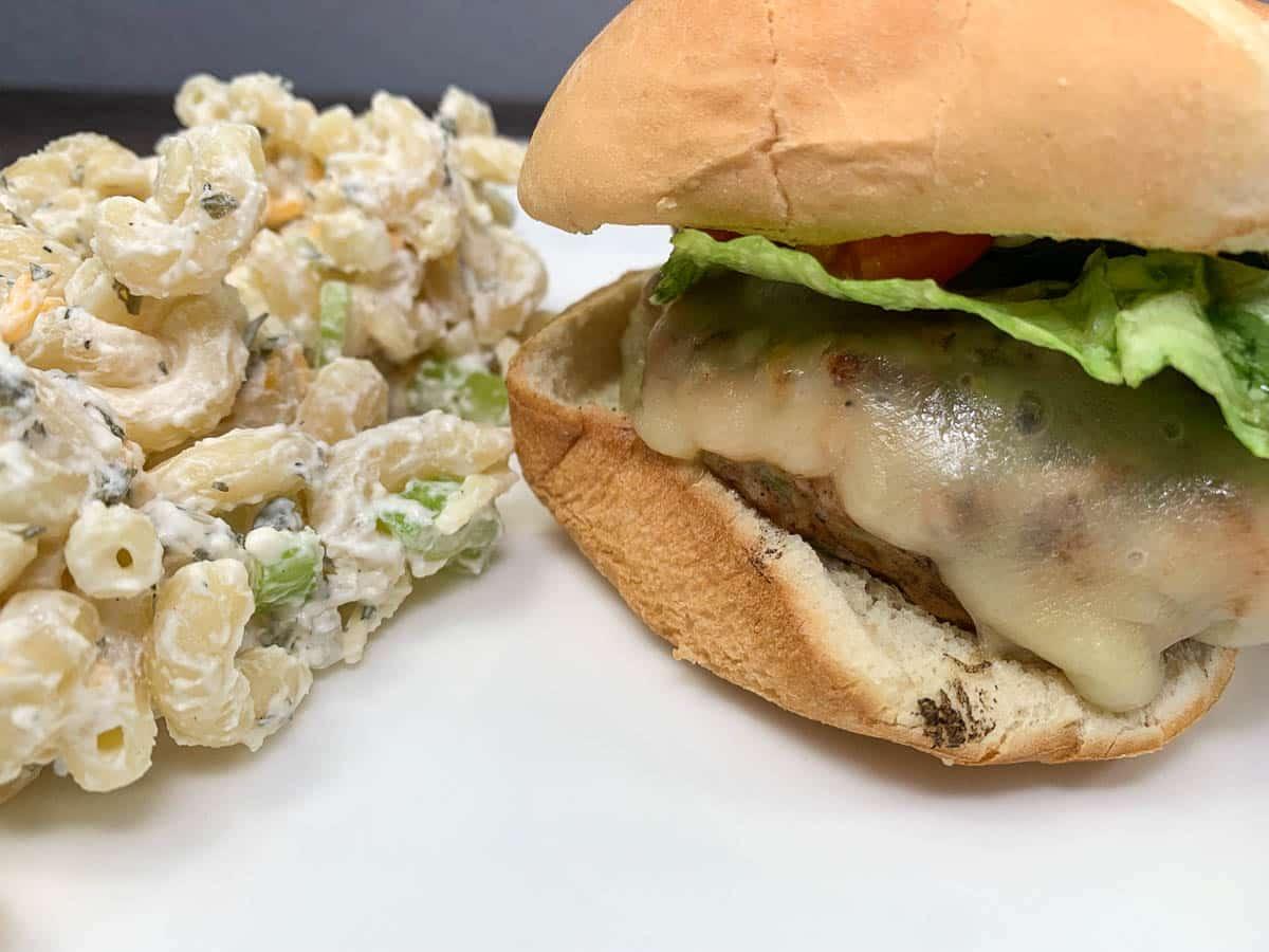 Chicken Burger with Macaroni Salad