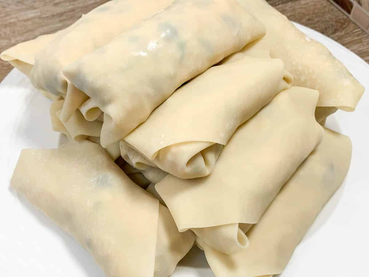 egg rolls ready to be deep fried