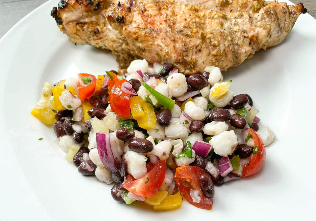 black bean hominy salad with chicken breast