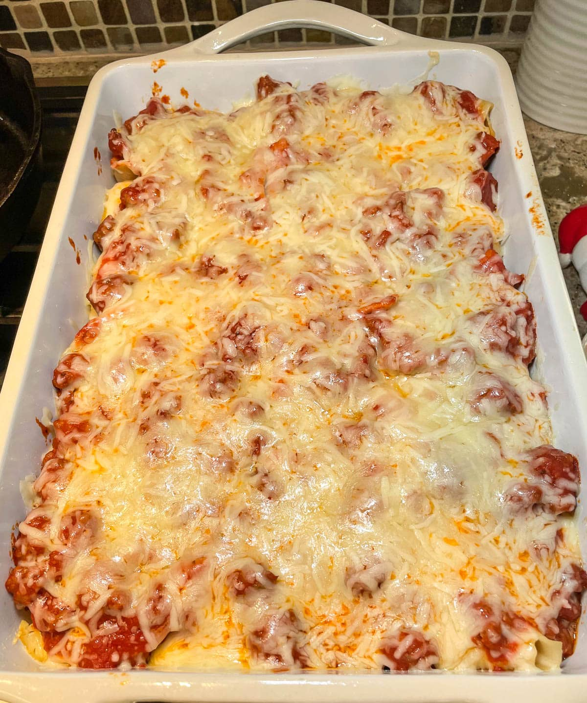 Italian stuffed pasta shells fresh out of the oven