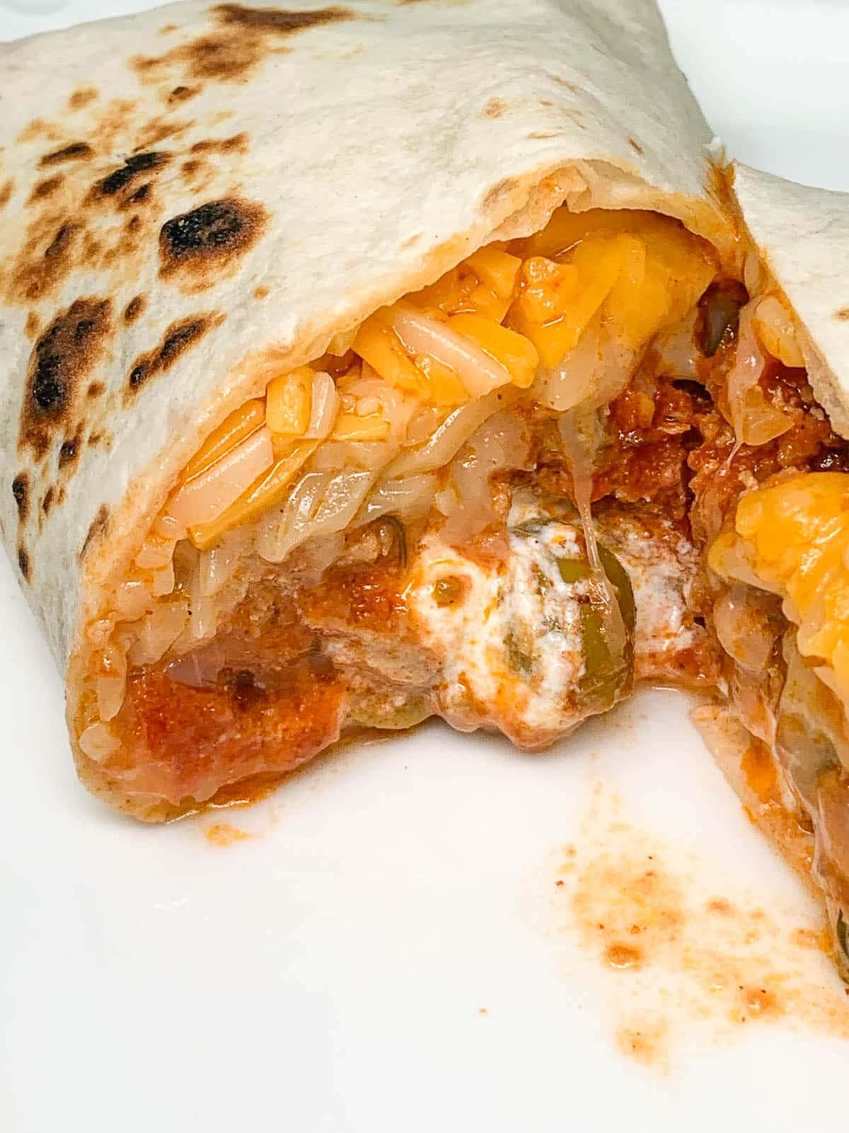 turkey chili burrito