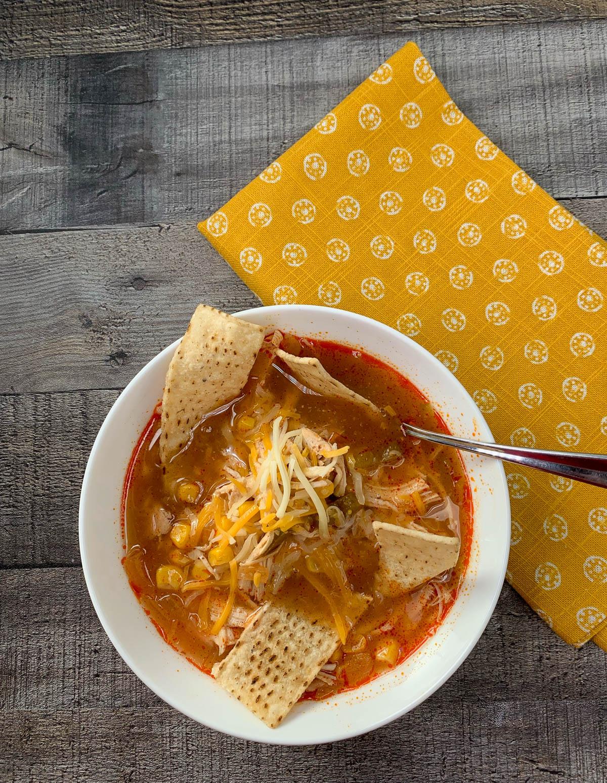 chicken enchilada soup in a bowl