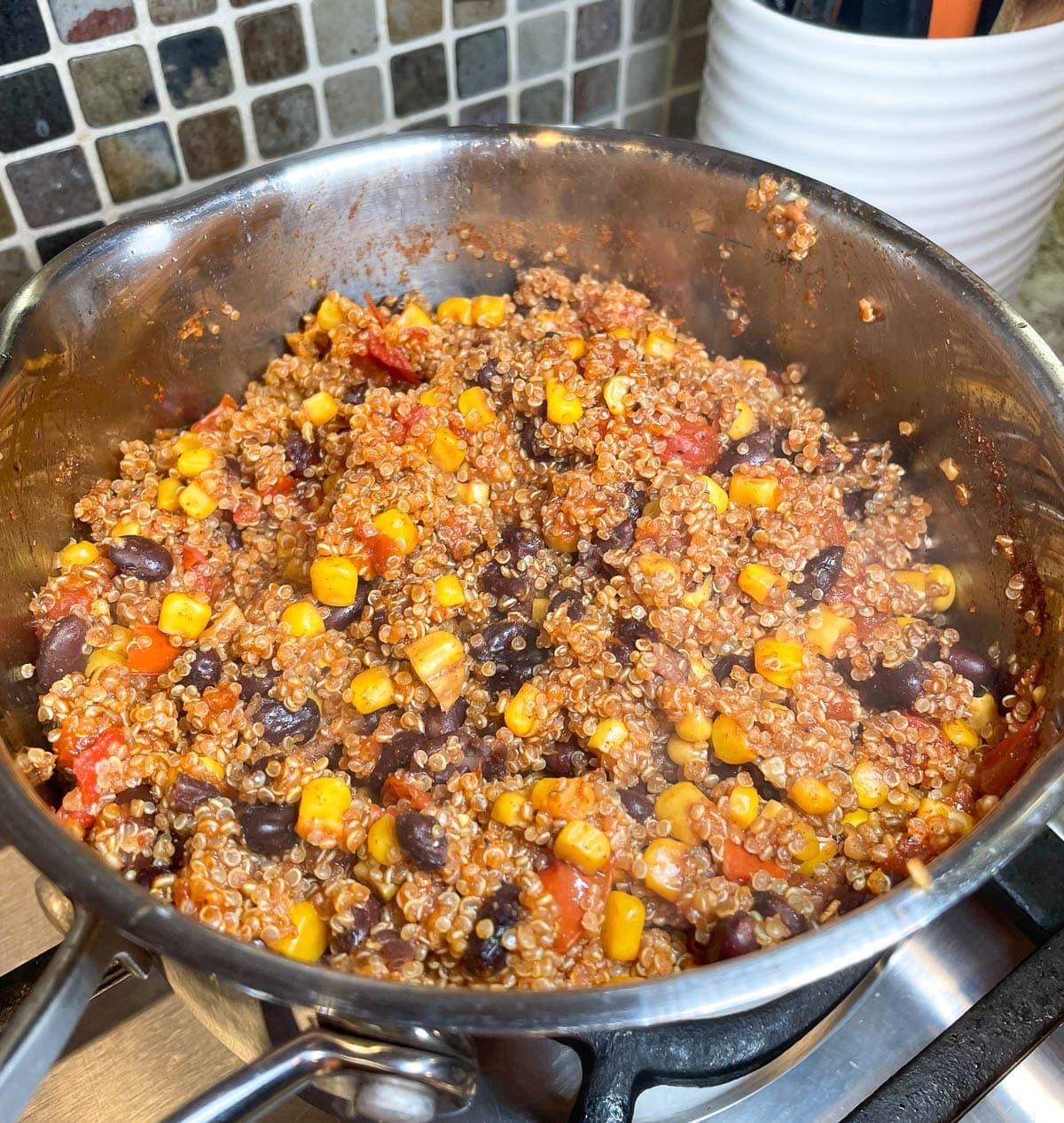 quinoa in saucepan